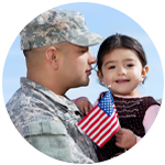 Military dad and young daughter holding a USA flag.